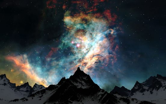 516678-clouds-colors-mountains-nature-night-outer-space-snow-stars